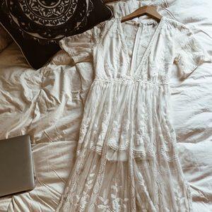Honest punch white lace maxi dress